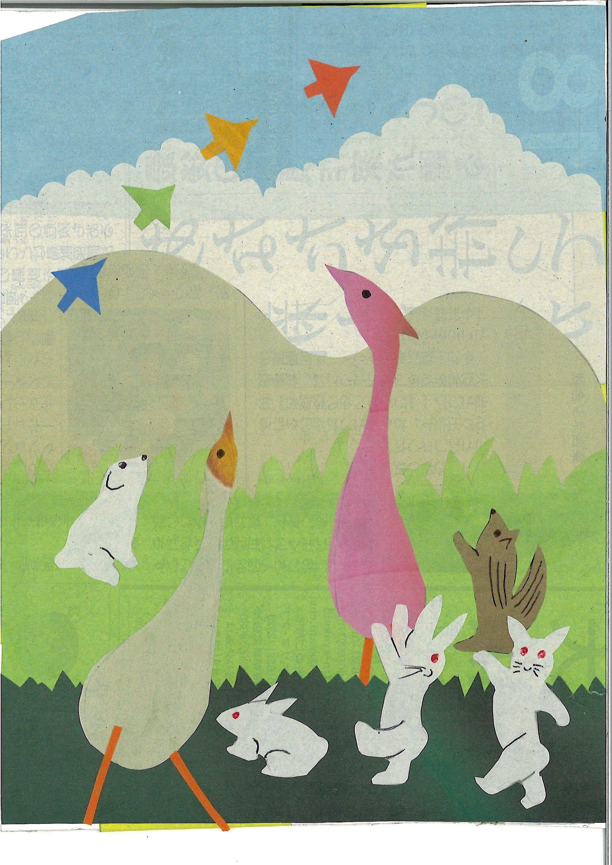 夏休みおやこエコアート教室 「色刷り新聞紙deはり絵にチャレンジ!!」